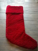 NWT POTTERY BARN Quilted Red Velvet Christmas stocking LARGE