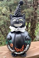 """Happy Halloween Kitty Hand painted Signed Gourd 11"""""""