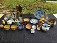 Mostly Signed Studio Pottery Large Collection Vases pitchers Bowls Etc