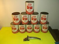 (10) 1960'S VINTAGE TEXACO URSA ED MOTOR OIL CANS W/SPOUT (CANS FULL)