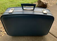 VINTAGE BLUE LUGGAGE HARDCASE SUITCASE CARRY-ON SUIT CASE