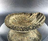 Signed  Hinton 1978 Vintage Gritty Rustic Studio Art Pottery Seashell Dish Bowl