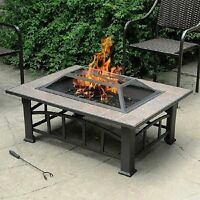 Outdoor Wood Burning Fire Pit Tile Top Backyard Patio Heater Table New