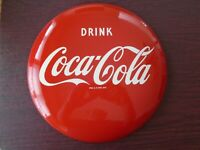 VINTAGE COCA COLA ENAMEL BUTTON SIGN - A-M 8-52 - NM- CONDITION 12