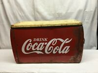 Vintage Galvanized  Red Coca Cola Ice Chest Cooler 21IN x 9in x 12in