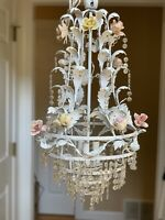 Vintage French Shabby White Porcelain Flower Wedding Cake Chandelier Refurbish