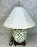 Vtg Chinese Hand Painted Jardiniere Converted to Table Lamp w/ R-wood Base