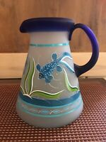 Mexican Hand Painted Glass Pitcher With Fish Design