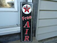 OLD VINTAGE 1930'S TEXACO FREE AIR ADVERTISING PORCELAIN GAS & OIL PUMP SIGN