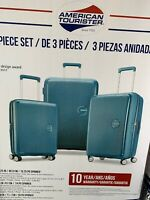 American Tourister Curio 3-piece Hardside Spinner Luggage Set Blue MSRP $249