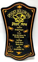 Vtg Spooky Hollow Halloween Wood Sign Spooky Hollow Inn Dinner Menu Hysterical!