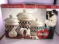 Coca Cola Cookie Jar Vintage 1996 Gibson Checkered Canaster set Of 4 *IN BOX*