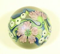 Vintage Orient and Flume Signed 104 N 1983 Art Glass Paperweight Flowers