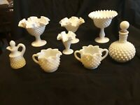 Lot of 8 - Milk Glass HOBNAIL PATTERN - Pedestal, Ruffled edge, Footed - mixed