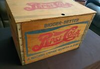 Vintage Wooden Pepsi-Cola Crate With Bottle Cap Checkerboard Top