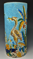 c1880 LONGWY VASE Herons on a Tropical Island SUPERB COLORS on Turquoise Crackle