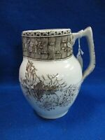 1800#x27;S VICTORIAN BROWN TRANSFERWARE AESTHETIC FORAL MILK WATER PITCHER