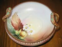 Nippon Nut Bowl 6quot; Round w 2 Handles Beading White Floral Green M Wreath VTG