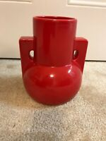 TECO Pottery Two Buttress Handle Vase Cherokee Red