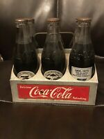 Vintage Aluminum Coca Cola Holder W 6 Anniv. Bottles Unopened