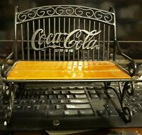 Coca Cola Miniature Park Bench Metal and Wood 1999