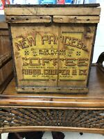Antique Wooden Coffee Box Bin With Paper Label And Great Graphics