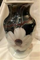 Orient and Flume Smallhouse Signed Glass Floral Vase 11quot; Footed Urn Excellent Co
