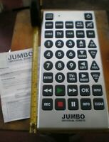 JUMBO Universal Television Remote Control Large Buttons w Manual $6.00