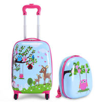 Honeyjoy 2Pc 12quot; 16quot; Kids Luggage Set Suitcase Backpack School Travel ABS
