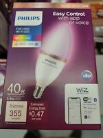 Philips Smart Wi Fi 40W LED Tunable Candle Bulb Full Color Dimmable Open Box $18.99