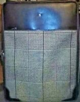 Ralph Lauren Brown Houndstooth Leather amp; Wool Wheeled Large Suitcase 29quot;x21quot;x12quot;