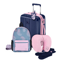 Ivory Ella by Conair 6 Piece travel set including Blue 20quot; Spinner Suitcase NWT