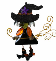 Halloween Witch Jewel Decoration Small Decor Hanging Flying Broom 4 Inches Craft