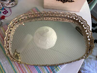 """Small Vintage Gold Mirror Vanity Tray Ornate Filigree Oval Rectangle 13 X 9"""""""