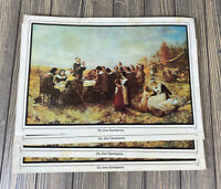 Vintage Set of 4 The First Thanksgiving Picture Print