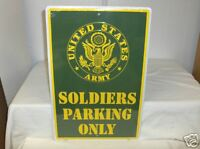 United States Army-Soldiers Parking Only`Metal Sign`New-Free To US