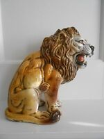 Vintage Terra Cotta Pottery Italy Lion Sculpture Hollywood Regency MCM