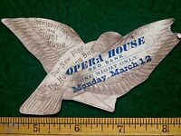 1880s Die Cut Humming Bird Opera House Red Bank, Play Victorian Trade Card F6