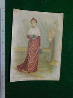 1870s-80s Christmas Wishes Lady in Long Fancy Dress Victorian Trade Card #P
