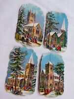Lot of 4 Embossed Die-Cut Christmas Victorian Trade Cards Churches Snow F44