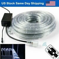 30' LED Rope Lights 2-Wire Custom Home Decor 110V Holiday Cool White with Remote