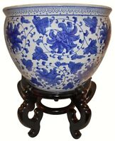 Blue and White Porcelain Jardiniere For Indoor Or Outdoor Use