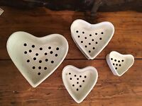 Vintage French Cheese Drainers Molds Pottery Heart Shaped Normandy World War II