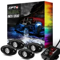 LED Rock Light Pods 4pc for Trucks Jeeps ATV Underglow OPT7 with 1 Year Warranty