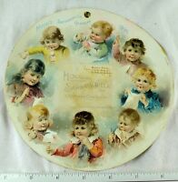 1892 Lovley Hood#x27;s Sarsaparilla Calendar Round Cute Kids Sewing Trade Card #H