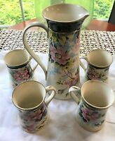 Avon Faience Floral Chocolate Pot Pitcher 4 Mugs Wheeling Pottery-Early 1900's