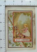 Victorian Christmas Trade Card Spider Web Cute Girl Tea-Time Dolls Outside #A