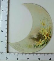 New Years' Victorian Die-Cut Crescent Moon Trade Card Lake Yellow Flowers #R