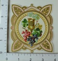 Fabulous Embossed Die-Cut Victorian Trade Card Wine Goblet Colorful Grapes #R