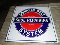 Vintage Goodyear Welt Shoe Repairing System Advertising Porcelain Flange SIGN